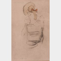 Jacques Villon (French, 1875-1963)      Sketch of a Seated Girl, Half Length, Back View