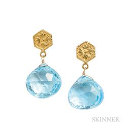 18kt Gold and Blue Topaz Earrings, Temple St. Clair