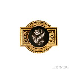 Victorian Gold and Rose-cut Diamond Brooch