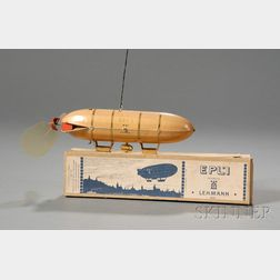 Lehmann Lithographed Tin Zeppelin Toy in Original Box