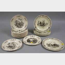 Two Sets of Wedgwood Queen's Ware Decorated Ceramic Plates