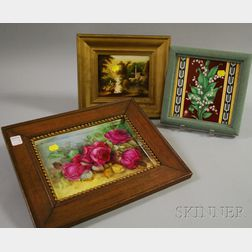 Three Framed Hand-painted Porcelain Items