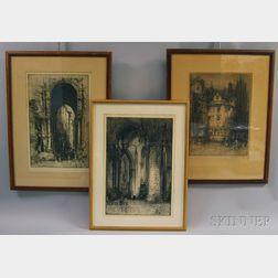 Hedley Fitton (British, 1859-1929)      Three Works: Ancient Portal, City Gate, Genoa ;  John Knox's House