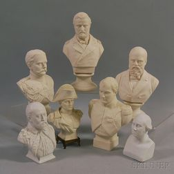 Seven Parian Busts of Military and Political Figures