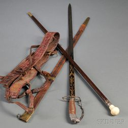 Lion Head-pommel Silver-hilt Sword, Scabbard, Belt, and Cane