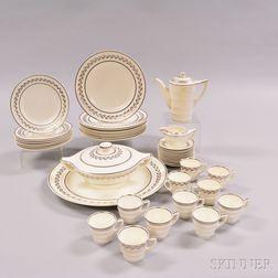 Forty-three Wedgwood Silver Lustre Moonstone Tableware Items