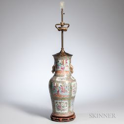 Rose Medallion Export Porcelain Vase Lamp
