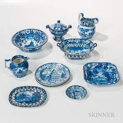 Eleven Staffordshire Blue and White Transfer-decorated Table Items
