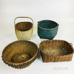 Four Woven Splint Baskets