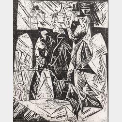 Lyonel Feininger (German/American, 1871-1956)      Spaziergänger (Promenaders)