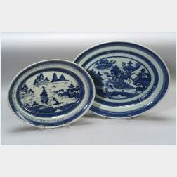 Two Blue and White Chinese Export Porcelain Oval Platters