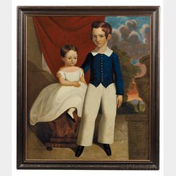 Anglo/American School, 19th Century      Portrait of a Boy and His Sister.