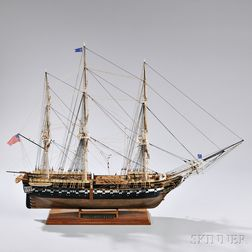 Painted Wooden Model of the Frigate USS Constitution