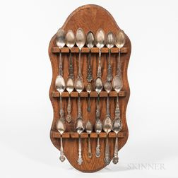 Twenty Odd Fellows, Daughters of Rebekah, and Knights of Pythias Commemorative Spoons with Oak Display Rack,