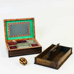 Inlaid Wood Box, Darning Egg, and a Pine Cutlery Tray.     Estimate $200-250