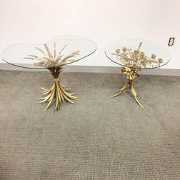 Two Small Gilt-metal and Glass Tables