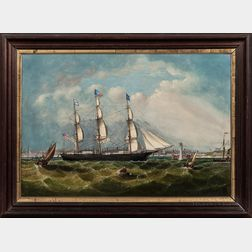 Attributed to William Yorke (New York/New Brunswick/England, 1817-1892)      Portrait of the Sailing Ship Rachel   off Liverpool