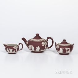Assembled Three-piece Wedgwood Crimson Jasper Dip Tea Set