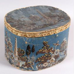 Wallpaper Covered Bandbox with Neoclassical Garden Scene