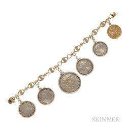 Gold and Silver British Coin Bracelet