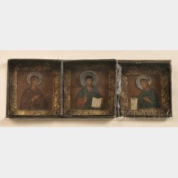 Russian Triptych Travel Icon Depicting the Deisis Group