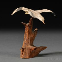 Miniature Carved and Painted Hooded Gull Figure