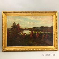 American School, 19th Century       Autumn Landscape with Winding River.