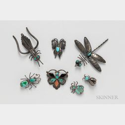 Seven Southwest Silver Insect Pins