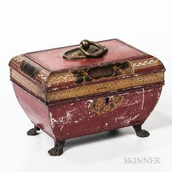 Red-painted Tin Desk Box/Tea Caddy