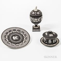 Three Wedgwood Black Jasper Dip Items