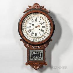 "Wm. L. Gilbert ""Office Drop Calendar"" Walnut Wall Clock"