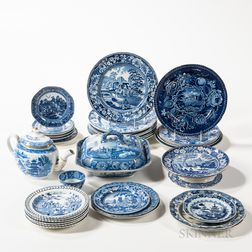 Approximately Thirty-four Pieces of Blue Transfer-decorated Tableware