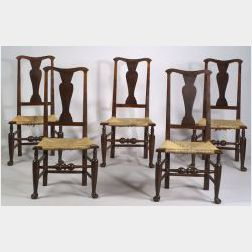 Set of Five Queen Anne Maple Vase-back Side Chairs