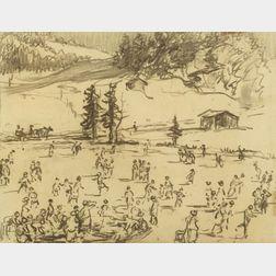 William Samuel Horton (American, 1865-1936)  Skaters, Gstaad