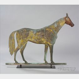 """Rare Molded Sheet Copper and Cast Iron """"Lexington"""" Standing Horse Weather Vane"""