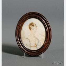 French Portrait Miniature on Ivory of a Young Lady