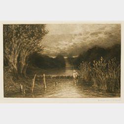 Sir Francis Seymour Haden (British, 1818-1910)      Grayling Fishing