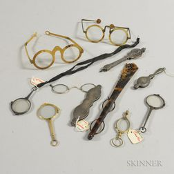 Two Pairs of Horn-rimmed Glasses and Eight Lorgnettes