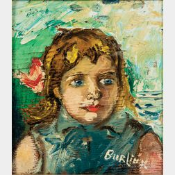 David Davidovich Burliuk (Ukrainian/American, 1882-1967)      Lili / Portrait of a Blue-eyed Girl