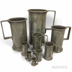 Set of Nine French Graduated Pewter Measures