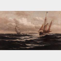 American/European School, 19th/20th Century      Two Vessels Approaching
