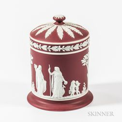Wedgwood Crimson Jasper Dip Jar and Cover