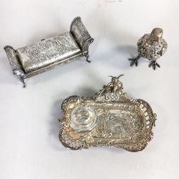 Three Continental Silver Inkwells