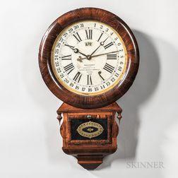 """Ansonia """"Drop Extra Calendar"""" Rosewood Wall Clock"""