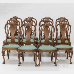 Set of Twelve Philadelphia-type Queen Anne-style Shell-carved Walnut Chairs