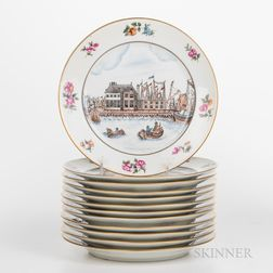 Set of Twelve Reproduction China Trade Porcelain Plates