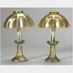 Pair of Tiffany Gold Favrile Glass Candle Lamps