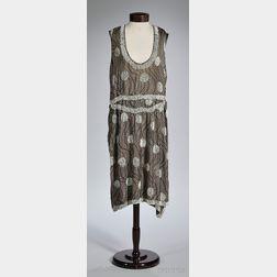 1920s Beaded Polka Dot Silk Dress