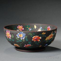 Wedgwood Enamel-decorated Black Basalt Bowl
