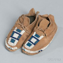 Cheyenne Beaded Hide Infant's Moccasins